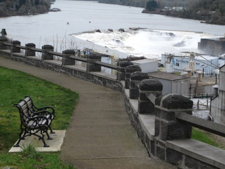 McLoughlin Promenade above Willamette Falls in Oregon City.