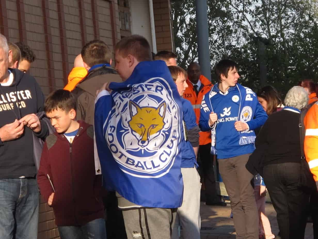 Away supporters showing their colors.