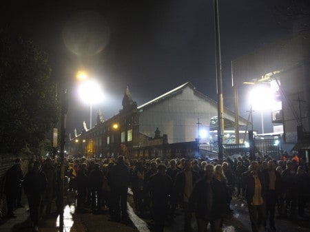 Outside, after the game.
