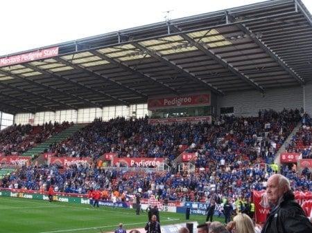 Leicester City fans in Stoke's Britannia Stadium.