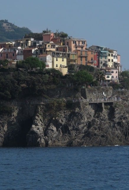 Corniglia, Cinque Terre, seen from the water.