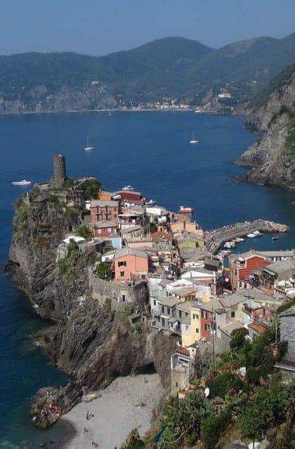 The town of Vernazza, Cinque Terre, which we hike to during my trip.
