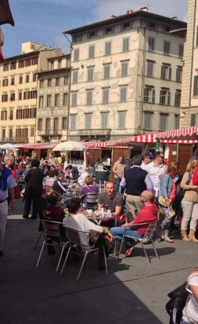 Street fair with Sicilian food treats in Florence, Tuscany.