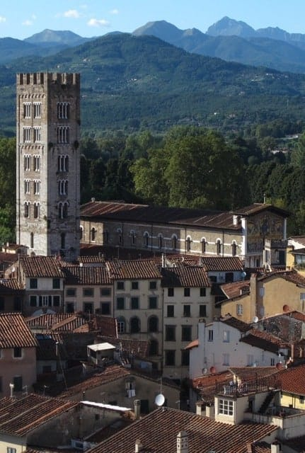 View of Lucca, Tuscany, with the Alpi Apuane in the background.