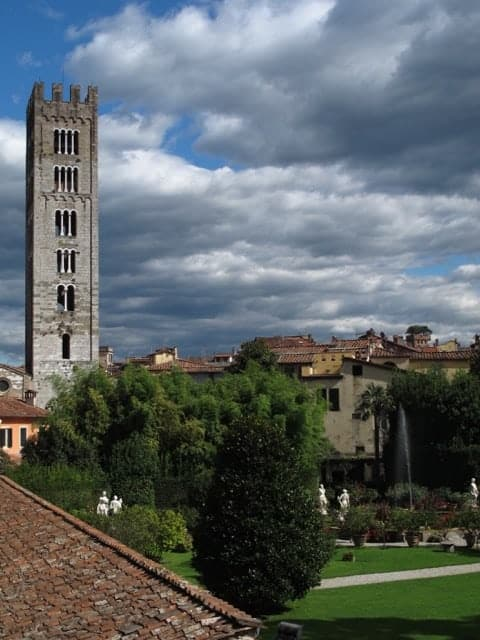 View of Lucca, Tuscany, from the city wall, which you can walk or bike around.