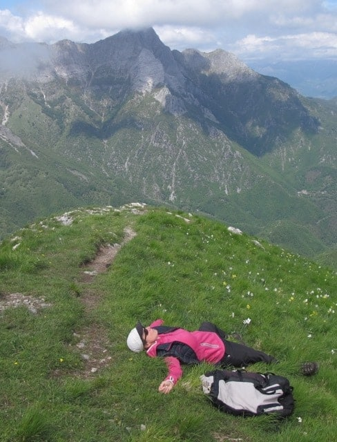 All blissed out on top of Monte Croce, a hike in Tuscany.