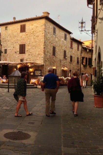 Off we go to dinner at a local pizzeria in San Donato, Tuscany.
