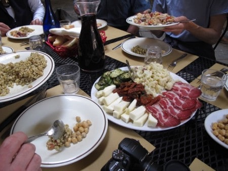 Sampler plate of Tuscan cuisine, at a side-street cafe in Siena.