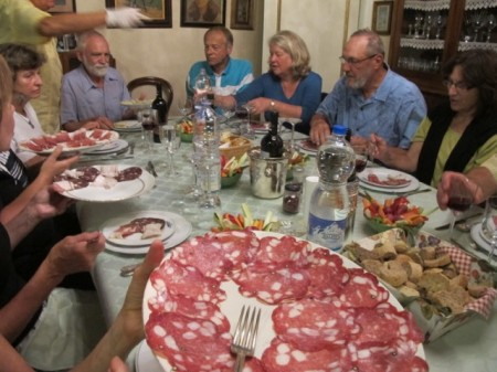 Antipasti of salami and prosciutto gets us going on another fabulous Italian meal. Read more at paulgerald.com.