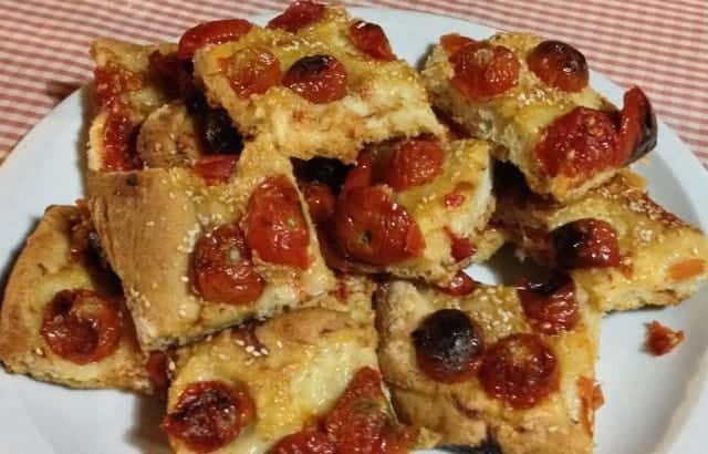 "Crostini with tomatoes, one of many fine and simple meals we have during my ""Trails and Tables of Tuscany"" trip"