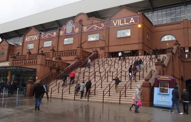 Outside the Holte End at Villa Park.