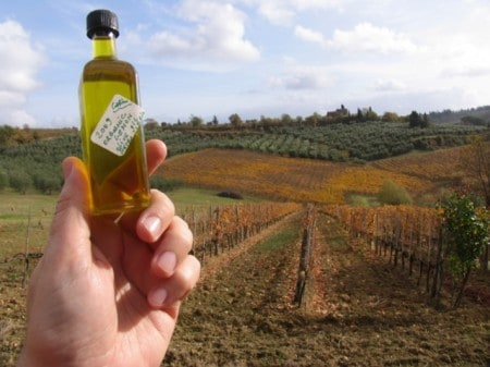 Olive oil, and the hills from which it came, in Tuscany.
