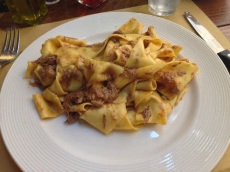 "Taglietelle with ragu, a filling lunch during my ""Trails and Tables of Tuscany"" trip."