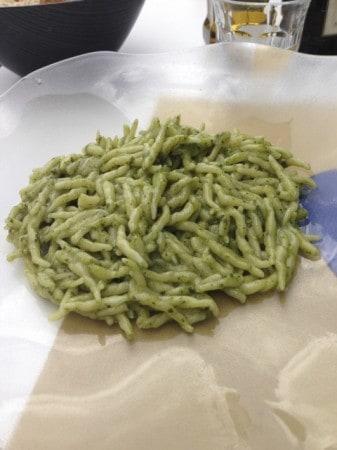 Pici pasta with pesto, in the Cinque Terre. The Liguria region is where pesto was invented.