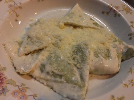 We had this ravioli with spinach filling and just a little cream sauce on the streets in Cinque Terre.