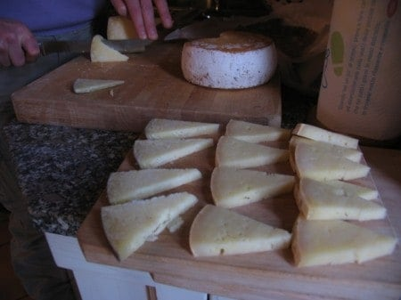 "Aged pecorino cheese, part of a country-home lunch during my ""Trails and Tables of Tuscany"" trip."