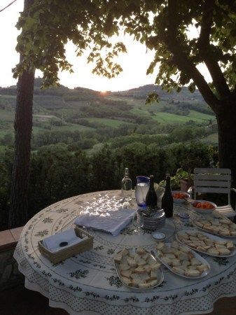 Getting ready for an olive oil tasting in the Chianti Hills of Tuscany. Read all about Italian hiking and eating at paulgerald.com.