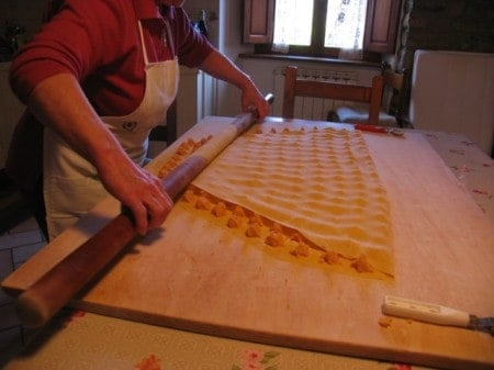 Our Italian friend makes us tortellini, a local specialty, in her farm home on the edge of a Tuscan forest reserve.