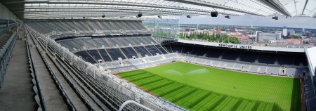St. James Park, home of Newcastle United, with a throng of fans and no league title for 80 years.