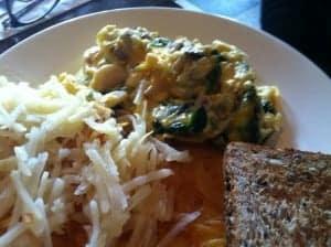 Ed's Plate at Jam: Fresh spinach, mushrooms, roasted garlic, cheddar.