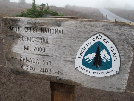 PCT/Timberline sign behind the lodge.