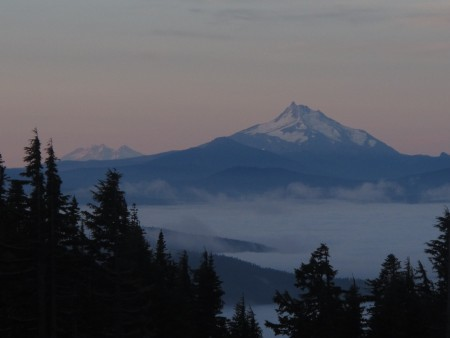 Day 3 started at Timberline Lodge again, this time headed for Cooper Spur. Great morning view of Jefferson and the Sisters.