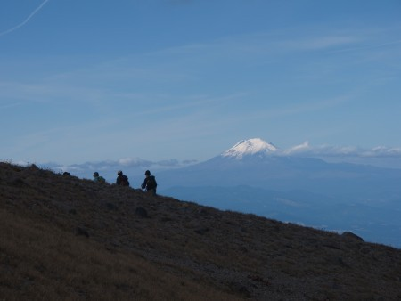 Approaching Cooper Spur, Mount Adams in the background.