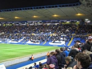 Birmingham fans, mostly silent, to my right.