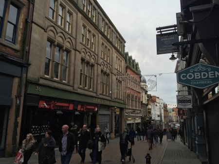The centre of Nottingham is largely pedestrianized.