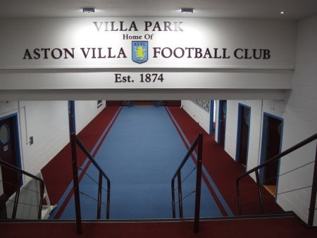 The players' tunnel at Villa Park.