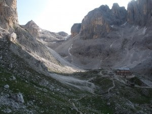 Rifugio Pradidali, where we will spend three nights.