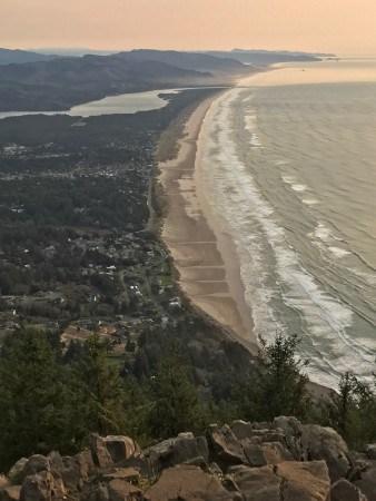 "Manzanita and Nehalem Bay from the ""summit."""