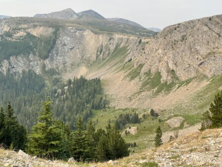 A view of a mountain valley with trees, meadows and cliffs.
